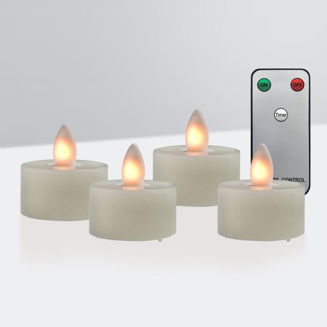 Sompex Shine LED Echtwachs Teelicht 4er Set mit Timer und Fernbedienung