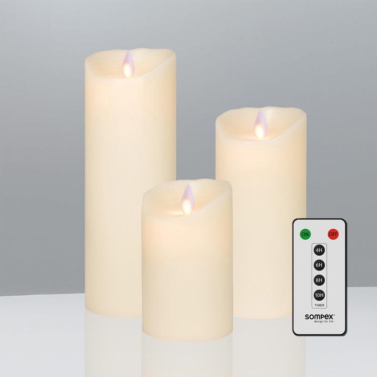 Sompex Flame Led Echtwachskerzen 3 Er Set Mit Timer Und
