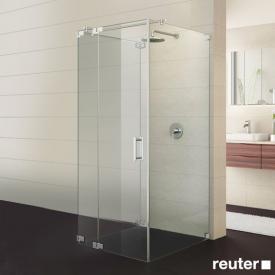 Sprinz Achat R Plus Tür mit 2 Seitenwänden ESG kristall hell / chrom