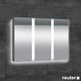 Sprinz Elegant-Line Aufputz Spiegelschrank mit LED-Beleuchtung, mit 3 Türen mit Hintergrundbeleuchtung