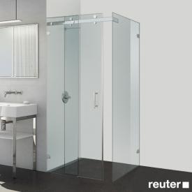 Sprinz Opalin S Schiebetür mit Festfeld und Seitenwand ESG kristall hell / chrom