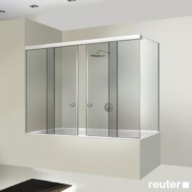 Sprinz Tansa Schiebetüren Badewannenabtrennung mit Festfeldern und Seitenwand ESG kristall hell / silber matt
