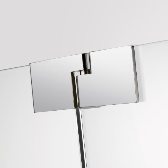 Sprinz Omega Schwingtür mit Festfeld und Seitenwand ESG kristall hell mit SpriClean / chrom