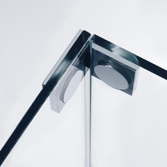 Sprinz Omega Schwingtür mit Nebenteil und Seitenwand verkürzt ESG kristall hell mit SpriClean / chrom