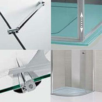 Sprinz Sprinter Plus Pendeltür mit Festfeld und Seitenwand ESG kristall hell mit SpriClean / silber hochglanz, WEM 98,3-100 cm