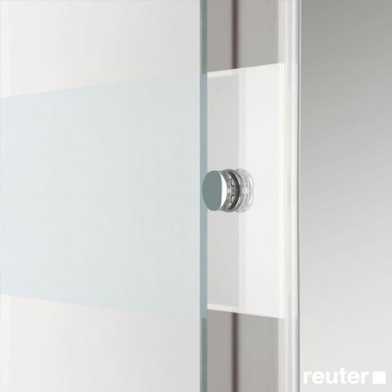 Sprinz Tansa Schiebetür mit Festfeld und Seitenwand ESG kristall hell mit SpriClean / silber matt
