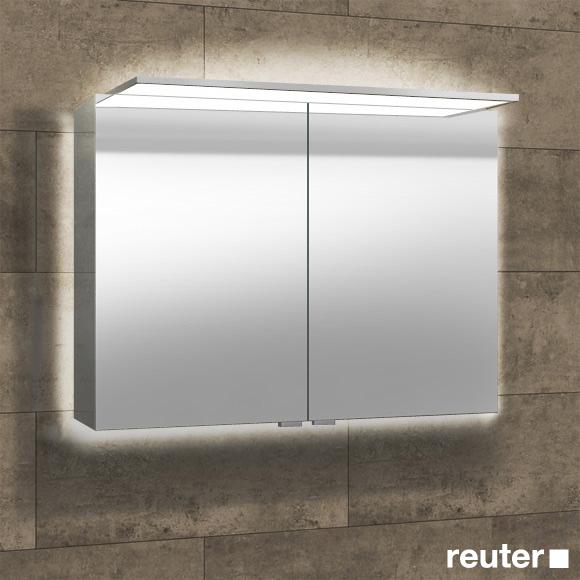 Sprinz Modern-Line Aufputz Spiegelschrank mit LED Beleuchtung mit Hintergrundbeleuchtung