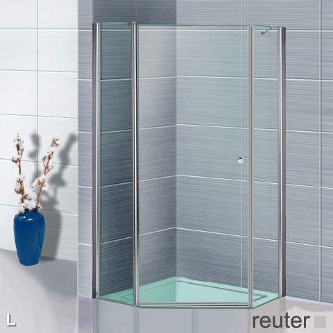 Sprinz Sprinter Plus Fünfeck Schwingtür ESG kristall hell / silber hochglanz, WEM 88,3-90 cm