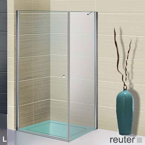 Sprinz Sprinter Plus Pendeltür mit Seitenwand ESG kristall hell / silber hochglanz, WEM 88,3-90 cm