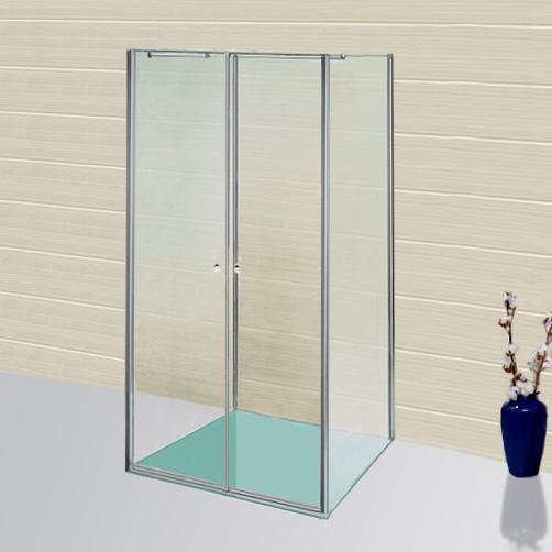 Sprinz Sprinter Plus Schwingtüren mit 2 Seitenwänden ESG kristall hell mit SpriClean / silber hochglanz, WEM 88,3-90 cm