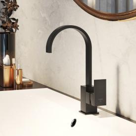 Steinberg Serie 135 Waschtisch-Einhebelmischbatterie mit schwenkbarem Auslauf schwarz matt, mit Ablaufgarnitur