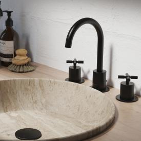 Steinberg Serie 250 3-Loch-Waschtischarmatur schwarz matt, mit Ablaufgarnitur