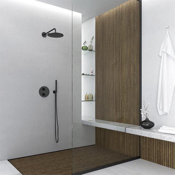 "Steinberg Sensual Rain ""Rain Shower"" Regenbause Ø 250 mm, mit Wandarm Ausladung 450 mm schwarz matt"