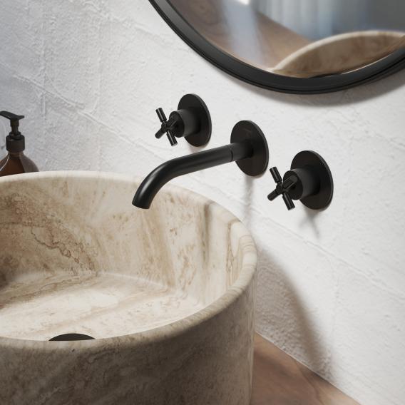 Steinberg Serie 250 3-Loch Waschtisch-Armatur für Wandmontage schwarz matt, Ausladung: 195 mm
