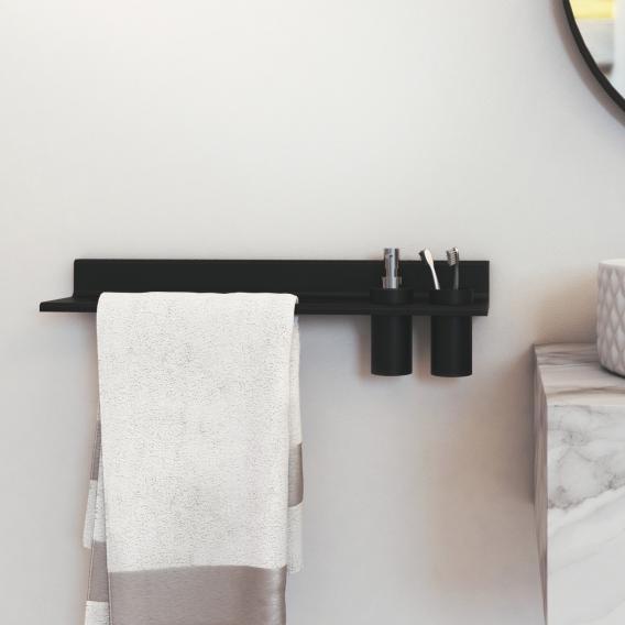 Steinberg Serie 430 Handtuchhalter mit Ausschnitt für Seifenspender oder Becher schwarz