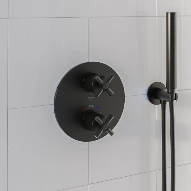 Steinberg Sensual Rain das NEUE Fertigmontageset für Brause-Unterputzthermostat mit 2-Wege-Umsteller schwarz matt