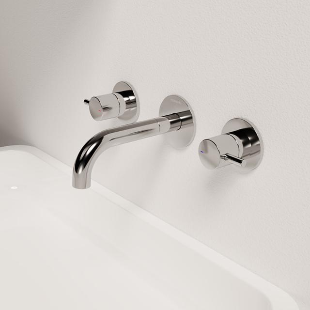 Steinberg Serie 100 3-Loch Waschtisch-Armatur für Wandmontage Ausladung: 185 mm