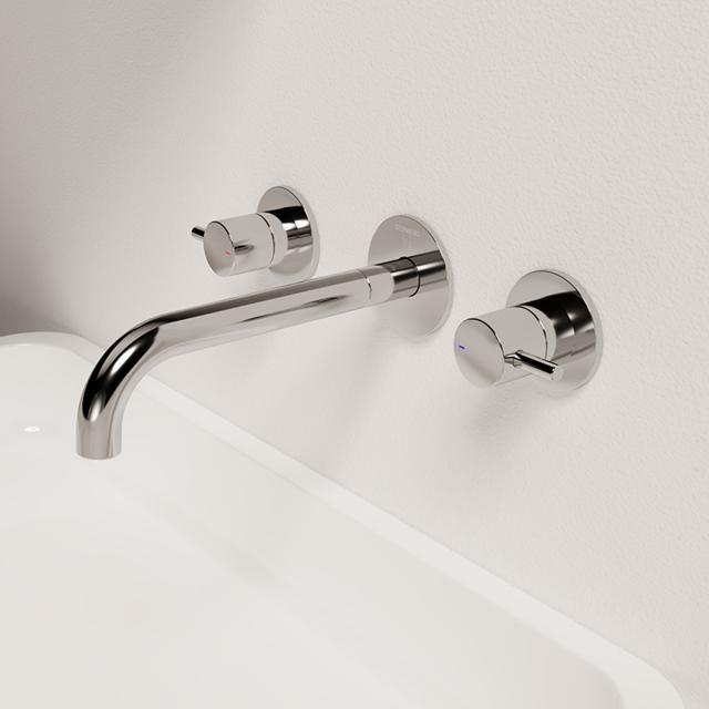 Steinberg Serie 100 3-Loch Waschtisch-Armatur für Wandmontage Ausladung: 245 mm