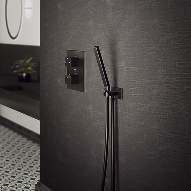 Steinberg Serie Handbrausegarnitur mit integriertem Brauseanschlussbogen schwarz matt