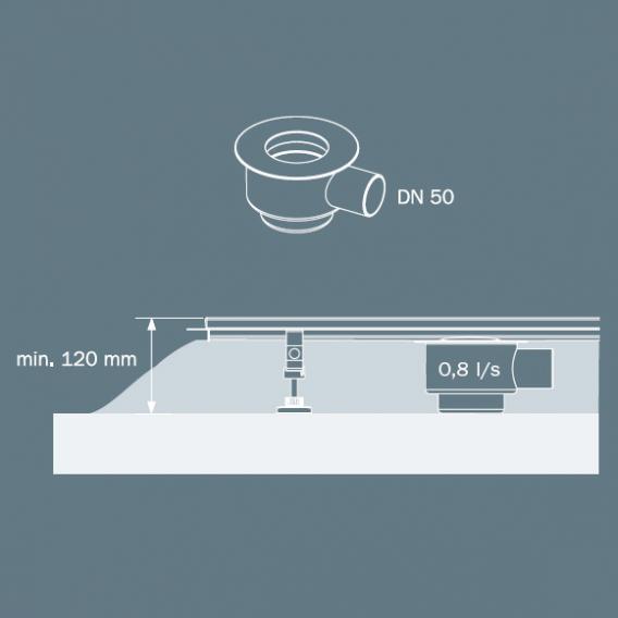 TECE drainline Ablauf Norm, DN 50 Auslauf seitlich, 0,8l/s