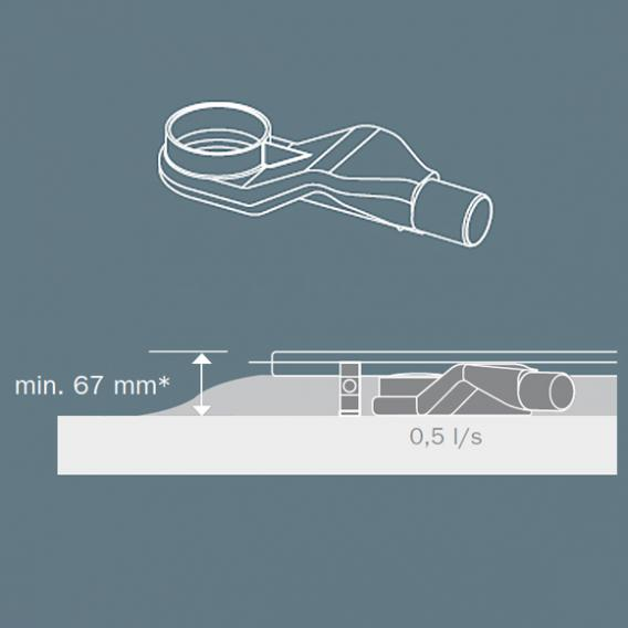 TECE drainline Ablauf superflach DN 40, Auslauf seitlich, 0,5l/s