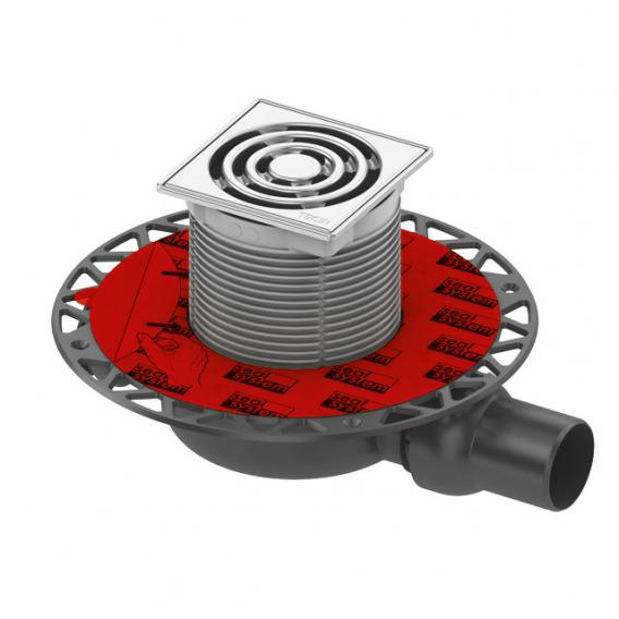 TECE drainpoint S 112 Ablaufset superflach mit Seal System Universalflansch und Rostrahmen