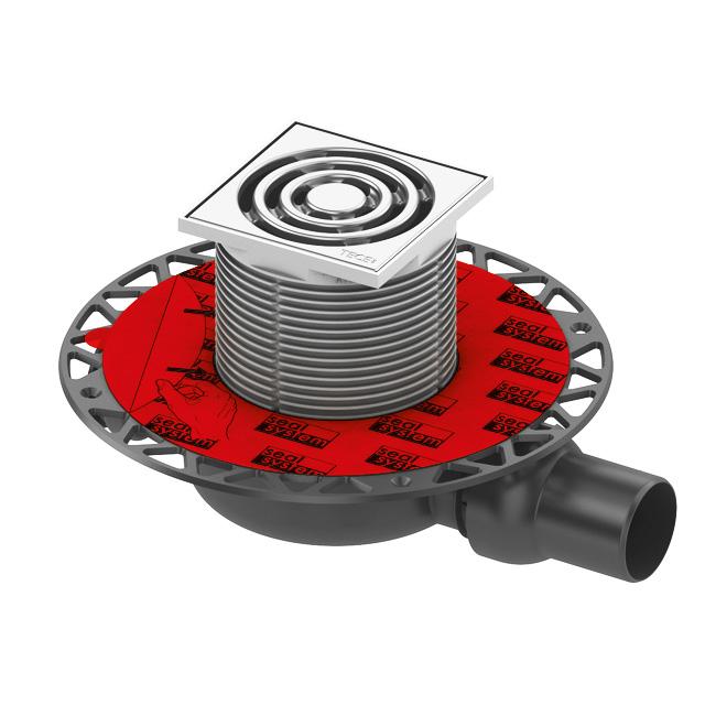TECE drainpoint S 110 Ablaufset superflach mit Seal System Universalflansch