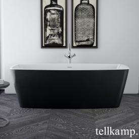 Tellkamp Arte Freistehende Rechteck-Badewanne weiß glanz, Schürze schwarz glanz