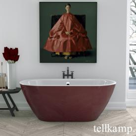 Tellkamp Cosmic Freistehende Oval Badewanne weiß glanz, Schürze rot glanz, ohne Füllfunktion