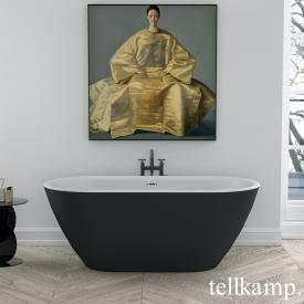 Tellkamp Cosmic Freistehende Oval-Badewanne weiß matt, Schürze ebony matt, ohne Füllfunktion