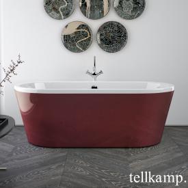 Tellkamp Easy freistehende Oval Badewanne weiß glanz, Schürze rot glanz, ohne Füllfunktion