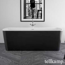 Tellkamp Komod Rechteck-Badewanne weiß glanz, Schürze schwarz glanz, ohne Füllfunktion