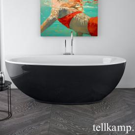 Tellkamp Neon Freistehende Oval-Badewanne weiß glanz, Schürze schwarz glanz, ohne Füllfunktion