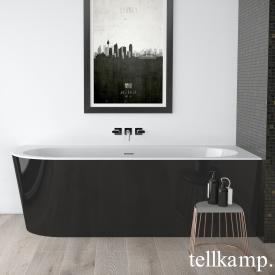 Tellkamp Pio Eck-Badewanne weiß glanz, Schürze schwarz glanz, ohne Füllfunktion