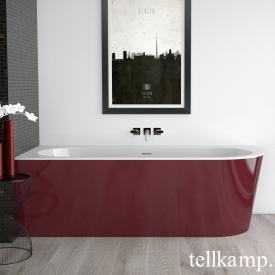 Tellkamp Pio Eck-Badewanne mit Verkleidung weiß glanz, Schürze rot glanz, ohne Füllfunktion