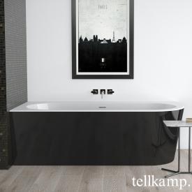Tellkamp Pio Raumspar-Badewanne mit Verkleidung weiß glanz, Schürze schwarz glanz, ohne Füllfunktion