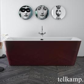 Tellkamp Pura Freistehende Rechteck-Badewanne weiß glanz, Schürze rot glanz, ohne Füllfunktion