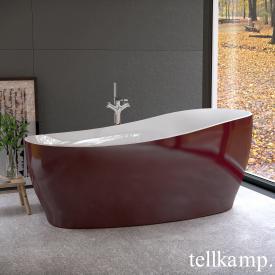 Tellkamp Sao Freistehende Oval Badewanne weiß glanz, Schürze rot glanz, ohne Füllfunktion