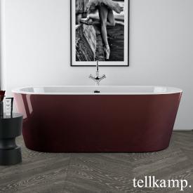 Tellkamp Solitär Freistehende Oval Badewanne weiß glanz, Schürze rot glanz, ohne Füllfunktion