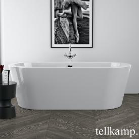 Tellkamp Solitär freistehende Oval Badewanne weiß glanz, Schürze weiß glanz, ohne Füllfunktion