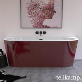 Tellkamp Solitär Wall Badewanne mit Verkleidung weiß glanz, Schürze rot glanz, ohne Füllfunktion