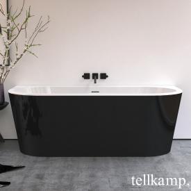 Tellkamp Solitär Wall Vorwand-Badewanne mit Verkleidung weiß glanz, Schürze schwarz glanz, ohne Füllfunktion