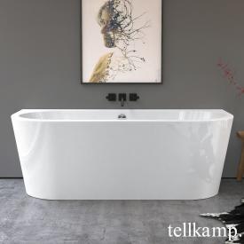 Tellkamp Solitär Wall Vorwand-Badewanne mit Verkleidung weiß glanz, Schürze weiß glanz, mit Füllfunktion über Überlauf