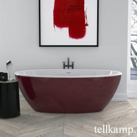 Tellkamp Space Freistehende Oval Badewanne weiß glanz, Schürze rot glanz, ohne Füllfunktion