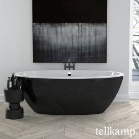 Tellkamp Space freistehende Oval Badewanne weiß glanz, Schürze schwarz glanz, ohne Füllfunktion