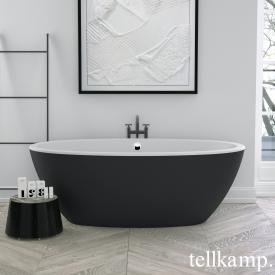 Tellkamp Space Freistehende Oval-Badewanne weiß matt, Schürze ebony matt, ohne Füllfunktion