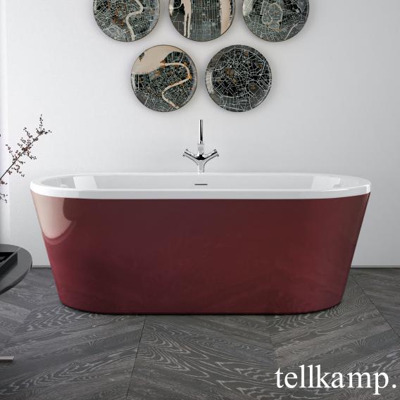 Tellkamp Easy Freistehende Oval-Whirlwanne weiß glanz, Schürze rot glanz