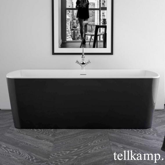 Tellkamp Komod Rechteck-Badewanne weiß glanz, Schürze schwarz glanz