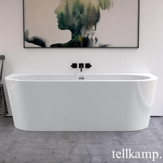 Tellkamp Solitär Wall Vorwand-Whirlwanne mit Verkleidung weiß glanz, Schürze weiß glanz, mit Wanneneinlauf