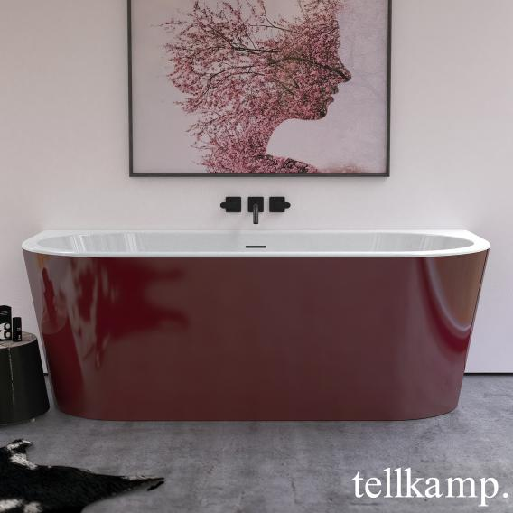 Tellkamp Solitär Wall Vorwand-Badewanne mit Verkleidung weiß glanz, Schürze rot glanz, ohne Füllfunktion